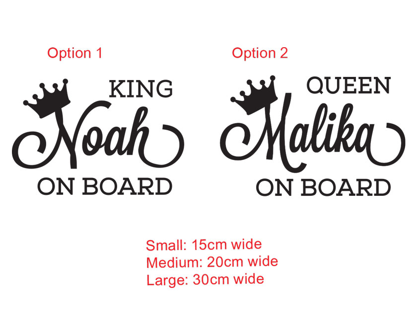Custom personalised name baby on board sign sticker king queen car window decal