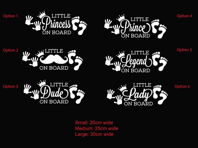 baby safety Little Prince and princess on board car sticker decal
