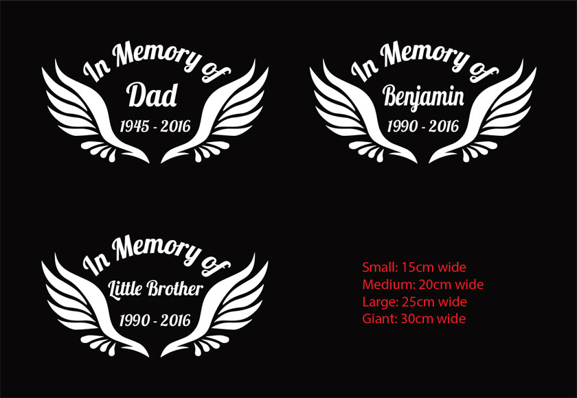 Custom memorial car sticker rip decal in memory of angel wings