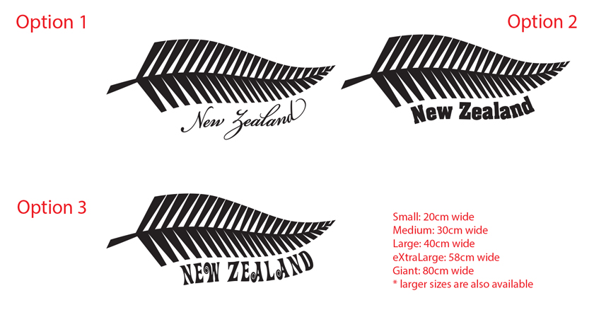 Silver Fern New Zealand Sticker NZ Decal Car Boat Lettering Tattoo - Vinyl decal car nz