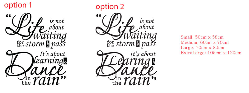 Life Is Not About Waiting Learn To Dance In The Rain Quote Wall