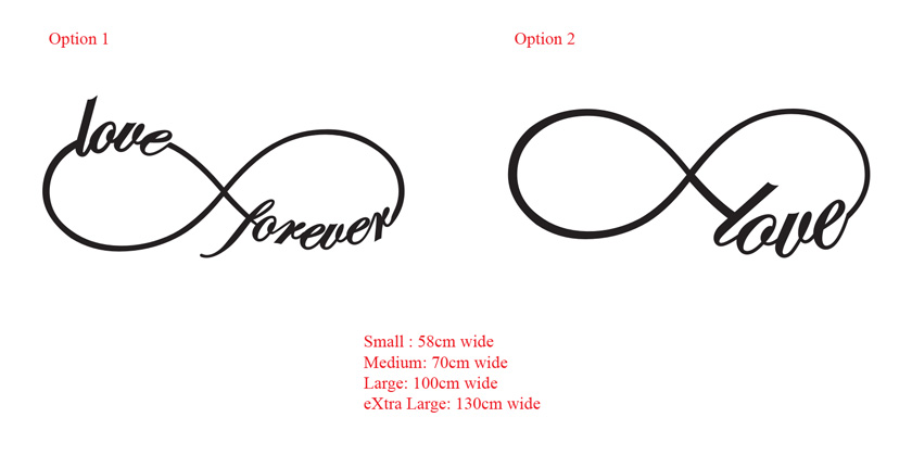 Infinity Symbol Removable Wall Art Sticker Decal Infinite Love