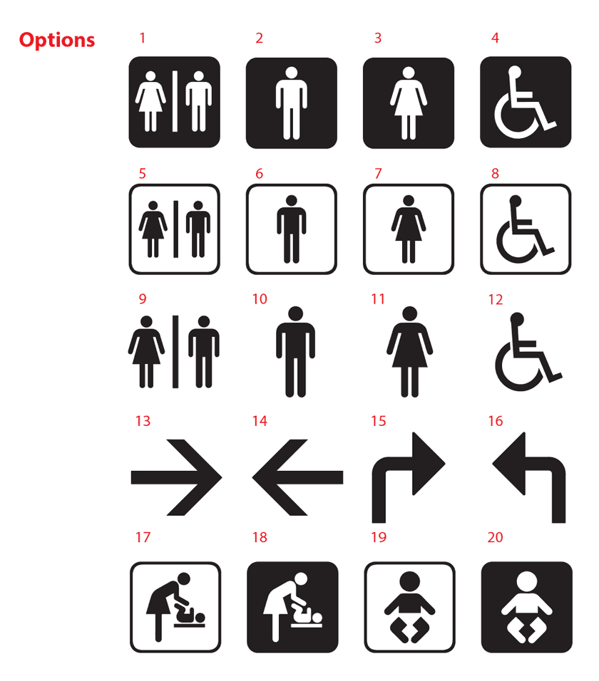 Toilet Sign Sticker Decal Bathroom Restroom Men Women Disable - Ladies bathroom sign