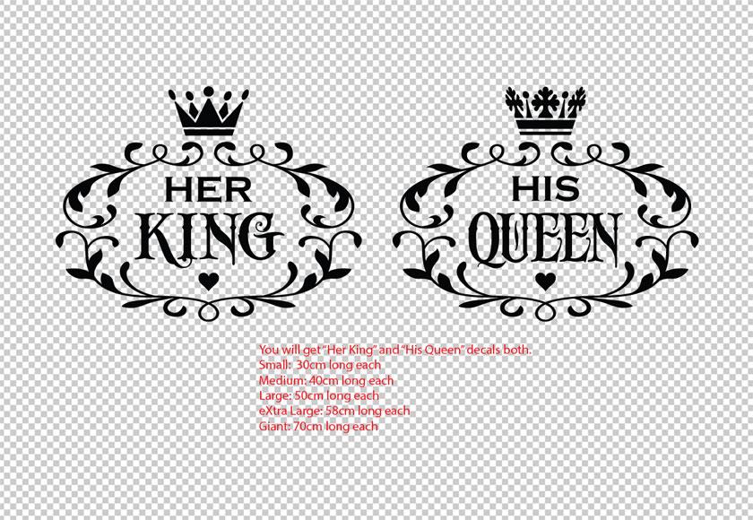 Her King His Queen Vinyl Decal Wall Stickers Wedding ...