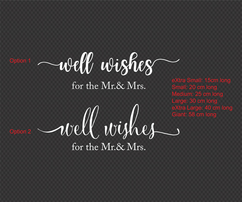 Please Leave your wishes to the New Mr. & Mrs. Wedding Sign Sticker Decal Mirror